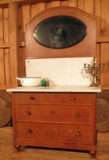 German Antique Dresser w/Marble Top and Mirror in Ramstein, Germany